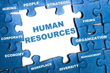 9628787 – human resource blue puzzle pieces assembled